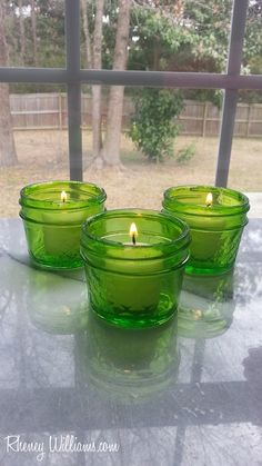 beautiful upcycled DIY green tinted mason jar tutorial to create candles, vases, gifts and more
