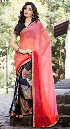 Black and Red color Half And Half Saree-Brasso Embroidered #Saree