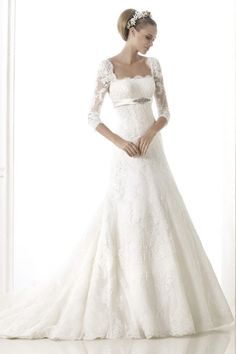 Glamorous A Line Strapless Empire Chapel Train Lace Wedding Dress With Half Sleeves