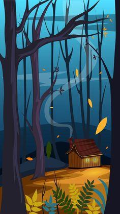 Cabin in the woods - digital art Scenery Wallpaper, Wallpaper Backgrounds, Mobile Wallpaper, Graphic Wallpaper, Galaxy Wallpaper, Landscape Artwork, Abstract Landscape, Landscape Design, Dope Wallpapers