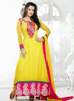 yellow color long party wear dress