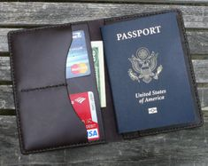 Passport Wallet Black Simple Leather Travel Holder for Leather Book Covers, Leather Books, Leather Cover, Leather Passport Wallet, Leather Wallet, Stitching Leather, Hand Stitching, Passport Cover, Dark Brown Leather