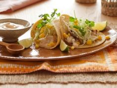 Fish Tacos with Chipotle Cream from CookingChannelTV.com