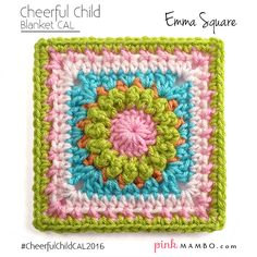 Cheerful Child Emma Square Blanket CAL Pink Mambo Guest Post by http://oombawkadesigncrochet.com/