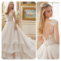 Gorgeous ball gown with textured layered bottom and stunning back.