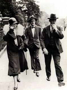 James Joyce and Nora Barnacle on the day of their wedding in London, 4 July 1931, Kensington Register Office.