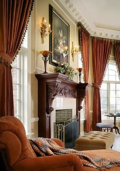 Love warm colors and textures in this well appointed room;  stately fireplace mantel features impressive carved wood corbels;  splendid architectural details! Home Interior Design - Community - Google+