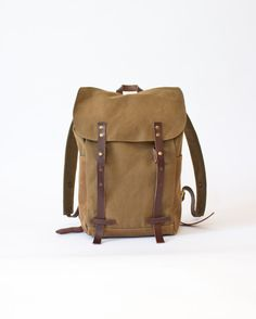 NO 2, Backpack in Tobacco, canvas, waxed canvas, men, women. €145.00, via Etsy.