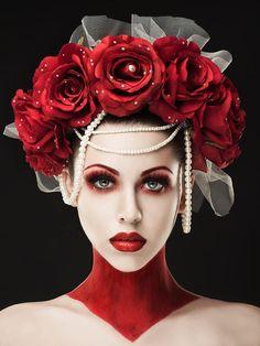Red Rose Headdress Valentina by NebulaXcrafts on Etsy