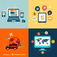 Flat Electronic Devices and Travel Set Free Vector