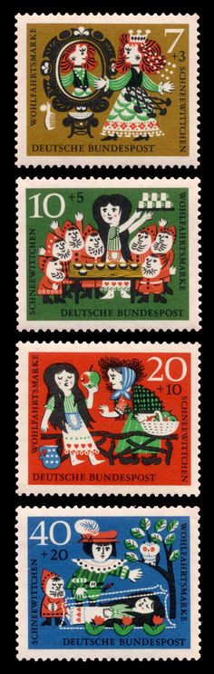 Set of 4 colourful German | Deutsche Bundespost postage stamps