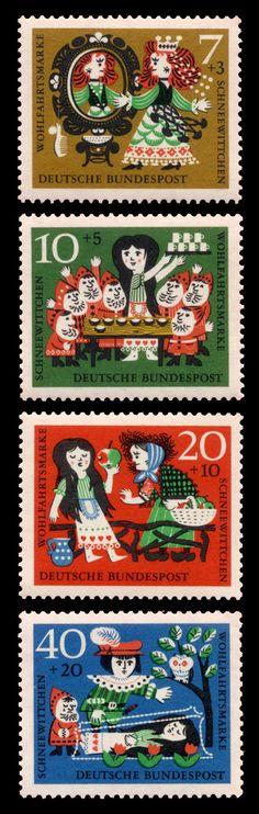 Set of 4 colourful German   Deutsche Bundespost postage stamps