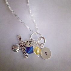 Sporty Girl Volleyball Hand Stamped Initial or Number Necklace