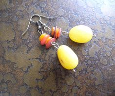 Citrus Delight Glass Antique Brass Beaded Dangle by SatinDollCo
