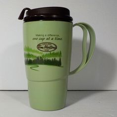 Tim Hortons Thermo Serv Forest Trees Green Travel Coffee Mug Cup Tim Hortons, Coffee Travel, Mug Cup, Coffee Mugs, Trees, Tableware, Dinnerware, Dishes, Home Decor Trees
