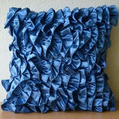 Blue Throw Pillows Cover 16x16 Satin Pillows by TheHomeCentric