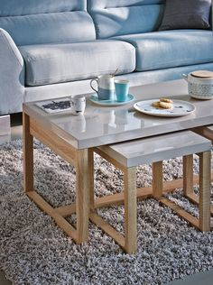 Table basse gigogne taupe laqué - BUT