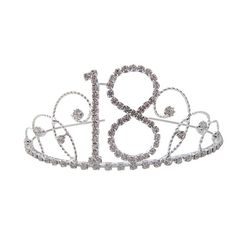 18th Birthday Diamante Crystal Tiara  Silver Plated Finish