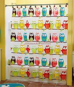 Colorful owl vinyl shower curtain blue pink brown yellow green 70 72