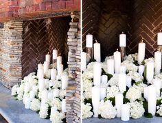 Candles and hydrangeas made the perfect ceremony backdrop! | Amorology Weddings