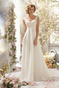 Cheap wedding dresses less than Buy Quality dress wedding gown directly from China wedding dress discount Suppliers: Simple Lace Chiffon Beach Wedding Dress With Applique Beading V Neck Back White Bride Bridal Gown vestido de noiva casamento Delicate Wedding Dress, Wedding Dress Chiffon, Long Wedding Dresses, Wedding Dress Styles, Bridal Dresses, Wedding Gowns, Lace Dress, Prom Dresses, Lace Wedding