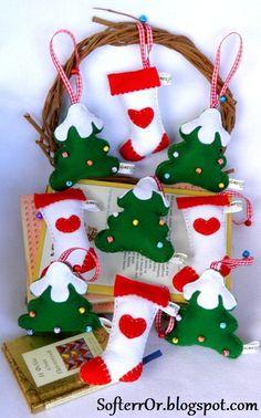 SofterrOr - Χειροποίητες Κατασκευές: ♥ Χριστουγεννιάτικα Στολίδια Δέντρο και Κάλτσα!!! ♥