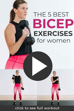 A complete bicep burnout to build strong, defined biceps and arms at home. Add these five bicep exercises to your at home arm workouts. Or dedicate one training day a week to just biceps with this 20-minute biceps workout at home. Dumbbell Bicep Workout, Biceps Workout At Home, Bicep Workout Women, Best Bicep Workout, Arm Workouts At Home, Body Workouts, Workout Routines, Workout Videos, Post Baby Workout