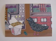 $4.00 Here's that beloved bird, Percival Featherington III on the very first Hannukah card in The Nancydraws Shop.