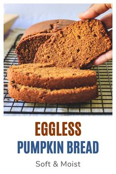This eggless pumpkin bread has a soft and moist crumb with wonderful pumpkin and spice flavor. This is a fall staple every year. It's so easy to make that you can't go wrong with this egg-free bread. For a variation, you can add a handful of chocolate chips or nuts into the batter before baking. Pumpkin Bread, Pumpkin Pie Spice, Baking Recipes, Dessert Recipes, Desserts, Homemade Pumpkin Puree, Eggless Baking, Something Sweet, Curry Recipes