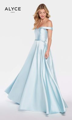 Alyce 60111 Solid Off-the-Shoulder A-line Dress- Ice Blue