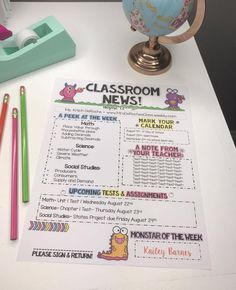 Classroom Newsetter EDITABLE Monster theme!!! All text is editable. Made for all subjects and grade levels!