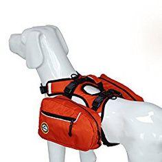 UEETEK Dog Backpack Saddlebag Adjustable Dog Accessory Pet Harness Bag for Outdoor Travel Hiking Camping Training (Red) size M