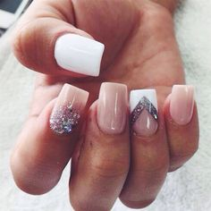 Square shaped nails in nyde, white and bling