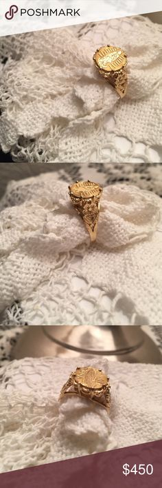 Vintage 14k gold ring This is a unique, custom made ring in 14k gold. Religious emblem [virgin mary].  Authentic gold ring in 14k. Jewelry Rings
