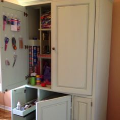"""90's entertainment center turned craft and wrap station! Recycling older furniture the """"Shabby Chic """" way!"""