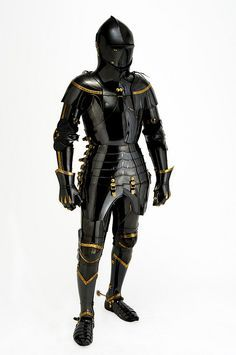 Medieval Knight Full Suit Of Armour Combat Wearable Halloween Costume premium quality well made medieval knight suit of armor metal : steel brass finish: black antique finish as shown in picture full size reproduction handcrafted stainless.