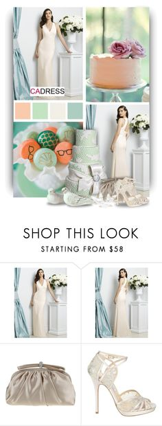 """""""V-Neck Floor-Length Bridesmaid Dress by Cadress"""" by christiana40 ❤ liked on Polyvore featuring Nina, Jimmy Choo, women's clothing, women's fashion, women, female, woman, misses and juniors"""