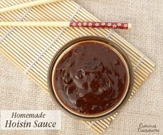 This quick hoisin sauce recipe can be whipped up in minutes from ingredients already in your pantry. Great as a marinade for chicken, beef or pork. Tasty as a dip for egg rolls or a stir fry sauce. | www.curiouscuisiniere.com