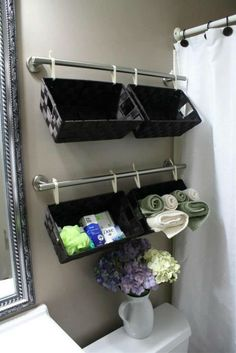 What home couldn't use more storage in the bathroom! Check out these creative bathroom storage ideas! bathroom organization, bathroom storage, creative organizing ideas, small bathrooms, DIY home decor ideas Bathroom Organization, Organization Hacks, Organizing Ideas, Storage Hacks, Basket Organization, Organized Bathroom, Trailer Organization, Roommate Organization, Home Storage Ideas