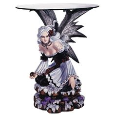 Black and White Fairy End Table