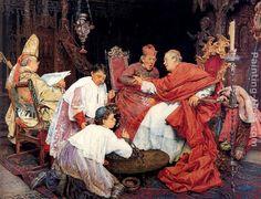 Guiseppe Signorini - Guiseppe Signorini Cardinals In An Interior