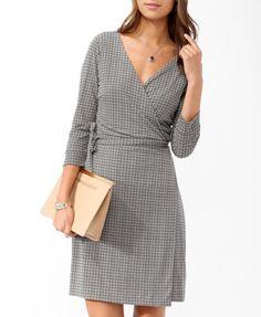 Retro Print Wrap Dress- work wear !