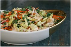 Chinese Chicken Salad - modify to fit your diet. Cabbage, carrot, onion, mint, meat, vinegar, aminos/soy sauce, oil, lime or vinegar, garlic, ginger, sweetener.