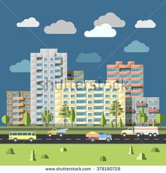 Panel houses with traffic on road in front city landscape flat style vector illustration. Typical blocks of flats of sleeping quarters urban scenery concept of residential district of megalopolis