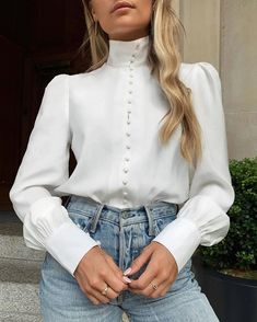 Solid Long Sleeve Single Breasted Blouse – Jartini blouses shirts style blouses designs blouses for women casual women tops shirt blouse Mode Outfits, Fashion Outfits, Womens Fashion, Fashion Trends, Fashion Clothes, Fashion Ideas, Fashion Tips, Trending Fashion, Clothes Women