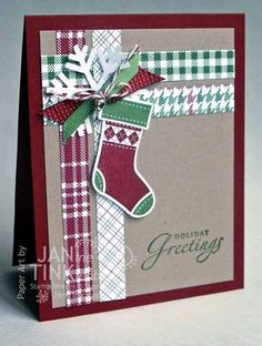Holiday Greetings Cute Stocking Greeting Card Handmade by JanTink, $5.95