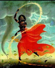 "Oya is a Great Yoruban Orisha. She is the goddess of Storms and Winds, from rainbows to thunder. Her name means ""She Who Tore"" in Yoruba. Oya Goddess, Mother Goddess, African Mythology, African Goddess, Sacred Feminine, Divine Feminine, Religion Wicca, Oya Orisha, Orishas Yoruba"