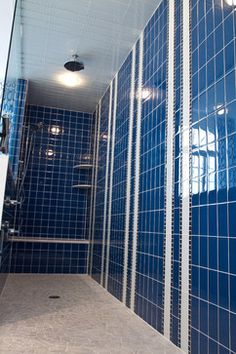 Blue Tile Shower Design Ideas, Pictures, Remodel, and Decor