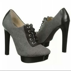 """Michael Kors Oxford Gray Booties NEW SZ 6.5 Michael Kors """"Sophia""""  Oxford Gray Booties NEW SZ 6.5. Grey flannel is traditionally reserved for Mens suiting but Michael Kors gives it a feminine spin with the Sophia Oxford bootie with lace up detailing and a 5 inch stacked heel they are a contemporary look with a classic twist flannel fabric and leather upper square toe oxford booties lace up detail 1 inch thick rubber traction platform 5 inch stacked heel Michael Kors Shoes Ankle Boots…"""