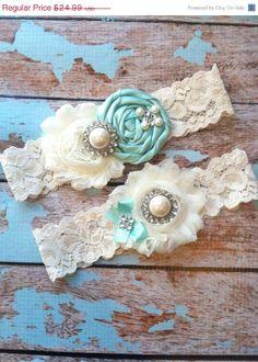 20% off BLACK FRIDAY/ 61 different colors / Wedding garter / TIFFANY Blue garter Set / wedding garters / bridal  garter/  lace garter